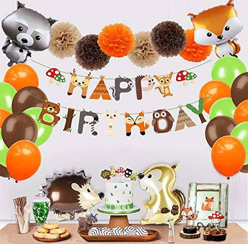 Jimiston Juego de decoración de Fiesta de Animales del Bosque de 41 Piezas: Pancarta de Feliz cumpleaños, Globos de Criaturas del Bosque, Pompones de Papel y Adornos de Cupcake para cumpleaños