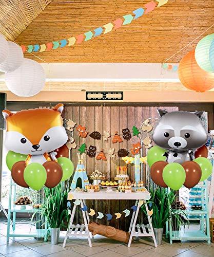 JOYMEMO Woodland Creatures - Bosque Decoraciones de Animales de Fiesta Woodland Creatures Globos y guirnaldas para Baby Shower, Decoraciones de cumpleaños