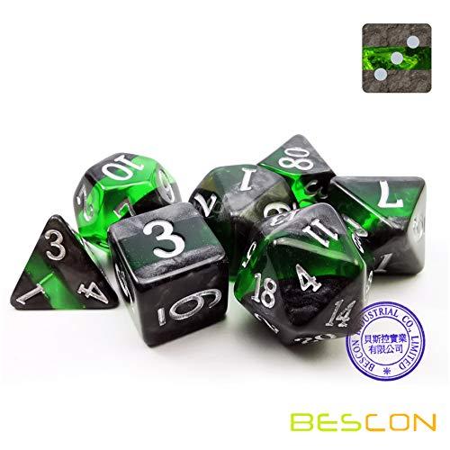 Juego de dados Emerald, colección Gem Vines de rocas minerales, dado poliédrico, para jugar a rol RPG, 7 unidades, de la marca Bescon
