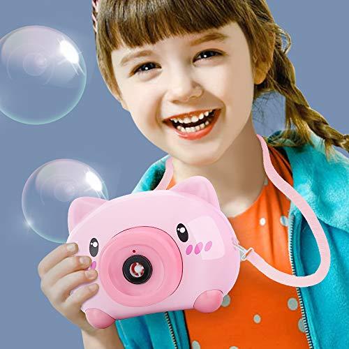 Juguete Burbujas Jardin con Luces y Musica para Uso en Interiores o Exteriores Máquina de Pompas de Jabón con Correa de Cámara Pistola de Burbujas de Agua,A