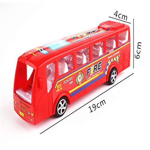 Junlinto, 19 cm Autobús de la policía de Bomberos pionero Tire hacia atrás Inerciales Coches Juguete para bebés Regalo de Regalo Modelo de Coche Entrega aleatoria