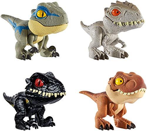 Jurassic World Dinobocazas, Pack de 4 dinosaurios de juguete para niños +4 años (Mattel GKH02)