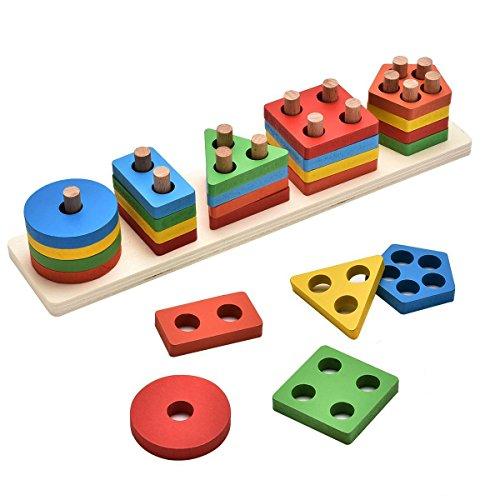 KanCai Juguetes educativos para niños de Madera Formas geométricas Tablero para apilar y clasificar Bloques Niños Niñas Bebés de 2 3 4 Años