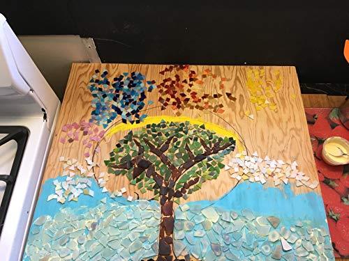 Kesote 600 Piezas de Mosaico Multicolor en Formas Variadas Mosaico para Decoración del Hogar o Creación de Bricolaje, Mosaico en Forma de Cuadrado, Triángulo y Rombo