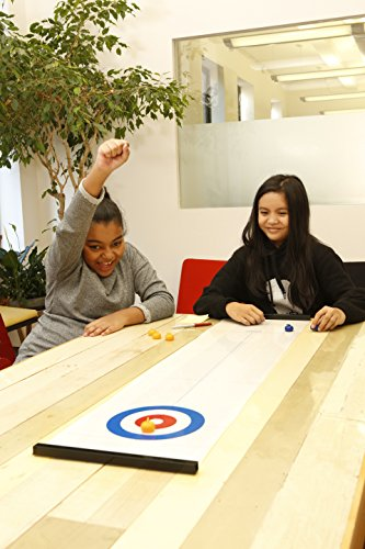 Kikkerland Table Top Curling Game for Family, Adults and Kids. Addictive and Fun Team Game - Quick and Easy to Set-Up, Compact for Storage and Travel