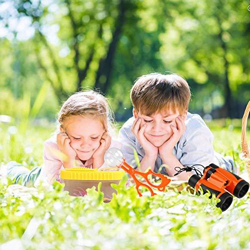Kit de Binoculares para Niños,Kit de Exploración 15 en 1 Kit Explorador Naturaleza, Prismáticos, Linterna LED de Mano, Mochilla de Colección, Brújula, Lupa, Silbato,Juego de Explorador para Niños