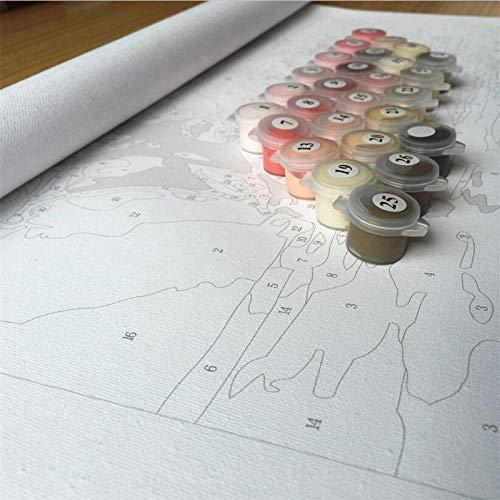 Kit de pintura digital numerada Perrito animal a bordo para colorear arte abstracto Lienzo bricolaje Regalo especial Decoración del hogar SDHJMT-16x20inch