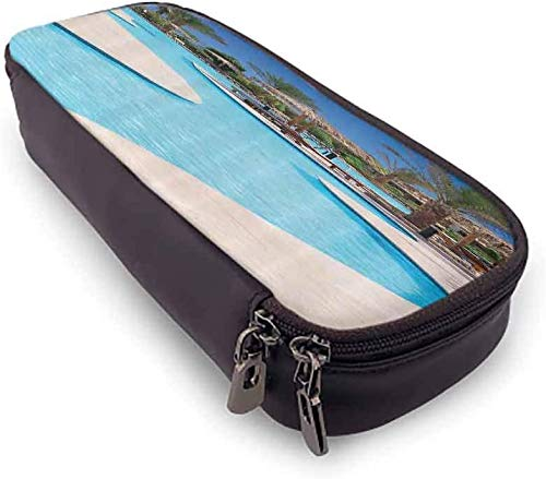 KLKLK Estuche Multi-Functional Pencil Bag House Decor Collection Swimming Pool of Luxury Hotel Resort Holiday Relaxation Tourism Tourist Attractions Picture Perfect Gift Blue Aqua