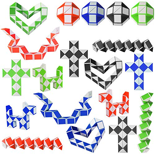 Kulannder 20 Pack de 24 Bloques Magic Snake Cube, Mini Speed Cubes, Snake Twist Puzzle para Llenadores de Bolsos para Fiestas, Favores de Fiesta, Color Aleatorio
