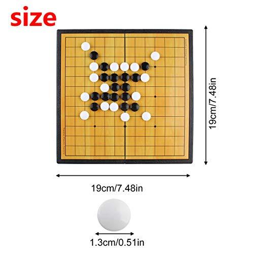 Larcele Plegable Magnético Go Juego de Tablero de Estrategia con Piedras and Tablero para Viajar CXWQ-01(Pequeña)