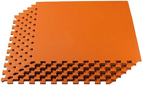 Lee My Alfombra Puzzle Suelo Goma EVA 9 Piezas de Espuma de Puzzle Protector de Suelo Matte Parte Jugar Niños Alfombra (60 cm x 60 cm),Naranja,9 Tiles