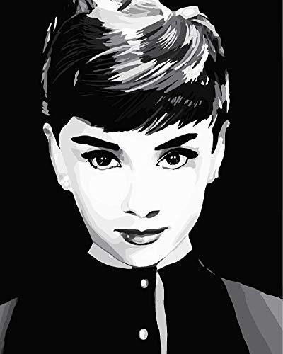 Leezeshaw pintura por números lienzo para adultos niños principiantes, pintura al óleo Audrey Hepburn, lienzo para decoración del hogar, Audrey Hepburn, Hepburn01, Without Frame-20X26 Inch