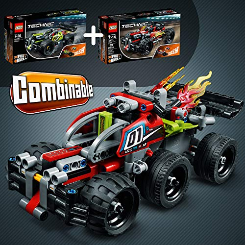 LEGO Technic - ¡GOLPEA! Coche de Acrobacias Verde de Juguete para Construir, con Motor Manual y Alerón (42072)