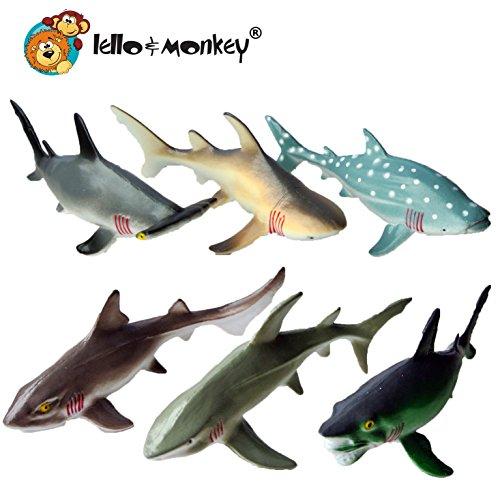 Lello and Monkey La Criatura del mar de Tiburones Animales de Juguete Figuras de Juego de 6