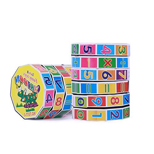 letaowl Cubo de Mágico Niños Aprenden Digital Cube Juguete Bebé Inteligencia Desarrollo Sudoku Color Cartoon Stickers Hand-Eye Coordinación
