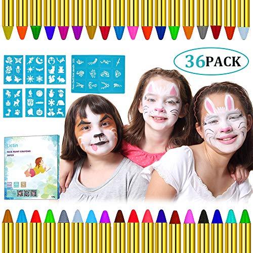 Lictin Pintura de Cara para Niños- 36 Colores Pintura Facial y 48 pcs Pegatinas, Kit Pintura Facial Seguro para Navidad Halloween Fiesta y Party, 12 Colores fluorescentes y 6 Colores Metálicos