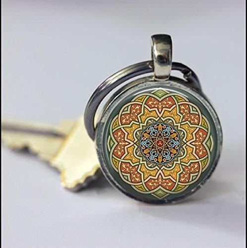 Llavero de mosaico azul verde amarillo. Regalo especial, llavero especial, accesorios de llavero, llavero redondo de cristal y plata
