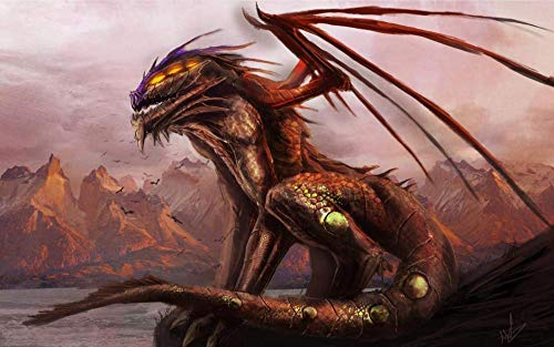 LLYMGX Puzzle Mountain River Dragon - Rompecabezas para Adultos Rompecabezas De Bricolaje De 1000 Piezas Niños Juguetes De Madera