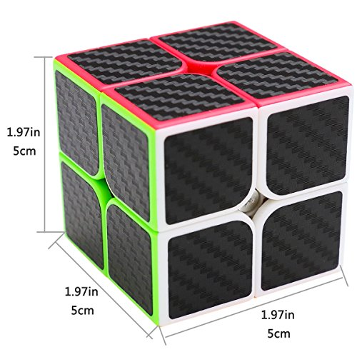 LSMY Speed Cube 2x2x2, Puzzle Mágico Cubo Carbon Fiber Sticker Toy