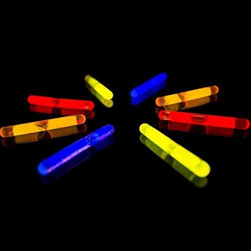 Lumistick - Varillas de luz para pesca de 1,5 pulgadas, color brillante, luces de colores brillantes, mini luz de neón para nadar, brilla en la oscuridad, para fiestas de noche, Rojo, 50 Glow Sticks
