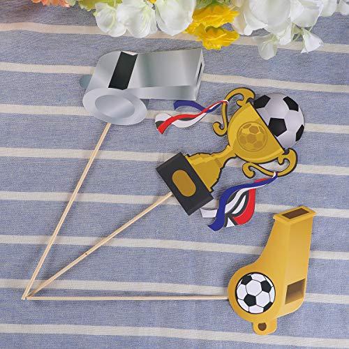 LUOEM 29 Pack de Accesorios de fútbol Photo Booth Kit Sports Party Photo Booth Atrezzo Super Party Party Games Ideas para Decoraciones del Partido de fútbol Suministros