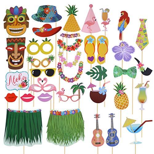 LUOEM 36 unids Hawaiian Photo Booth Props Divertido Luau Photo Props Selfie Accesorios de Bricolaje para Hawai Tiki Tropical Beach Pool Party Cumpleaños Suministros para Bodas