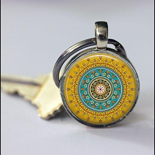 Mandala - Llavero con mosaico azul, verde y amarillo, regalo especial, llavero especial, accesorios de llavero, cristal redondo y plata