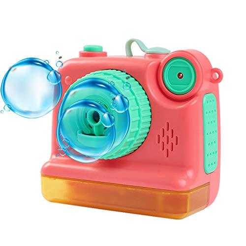 Máquina de Pompas de Jabón para Uso En Interiores o Exteriores con Correa de Cámara Juguete Burbujas Jardin para Uso en Interiores o Exteriores Pistola de Burbujas de Agua,Rojo