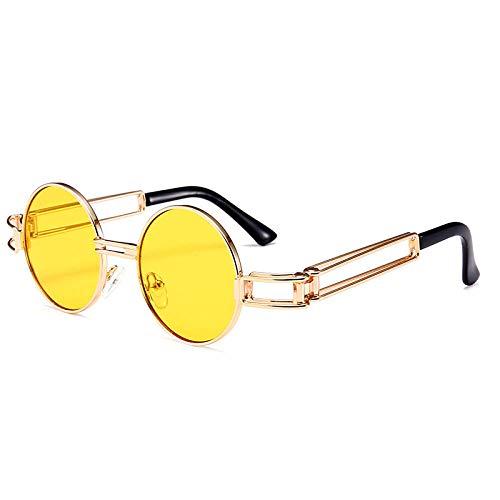 MarXixi Gafas de Sol Steampunk, Espejo príncipe Redondo Moderno 521-C3 Double Tea Tablets