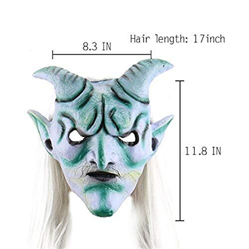 Máscaras Tao Halloween Scary Long Hair Devil Mask Costume Party Cosplay Prop Decoration