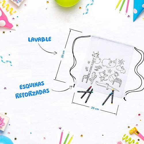 Mega Pack de 30 Mochilas para Pintar con Ceras - Diversión Asegurada - Original Regalo para Cumpleaños, Fiestas Infantiles en el Colegio y Comuniones - Incluye Regalos Extra para Divertido Concurso