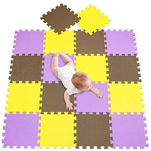 meiqicool Alfombra puzle 142 x 114cm Niños 18 Piezas Cuadrado Goma Espuma EVA,Alfombra Puzzle para Niños Bebe Infantil,esteras de 30x30cm Amarillo Marrón y Morado 050611