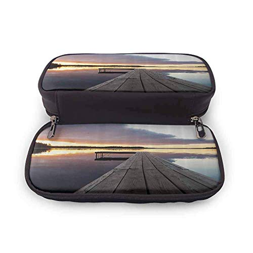MHKG Estuche de cuero House Decor Leather Pen Pencil Case View of Sunset Over an Old Oak Deck Pier and Calm Water of The Lake Horizon Serenity for School Supplies Multicolor