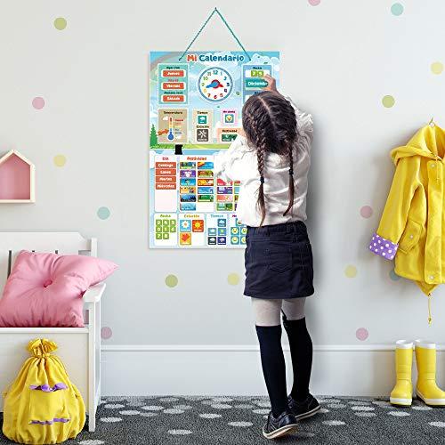 Mi Primer Calendario de SmartPanda - Juguete Educativo Magnético para Niños o Niñas - Incluye Reloj, Estación Meteorológica, Actividades y Emociones – para Pared o Frigorífico – en Español
