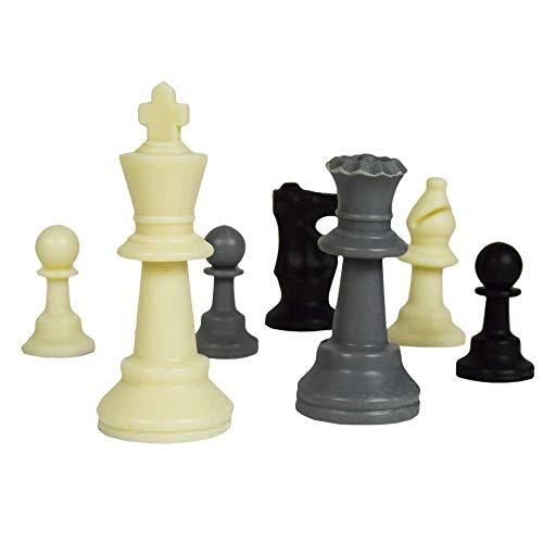 Mikamax - Ajedrez para Tres - Chess for Three - Ajedrez para 3 Personas - Negro y Gris - ø 55cm