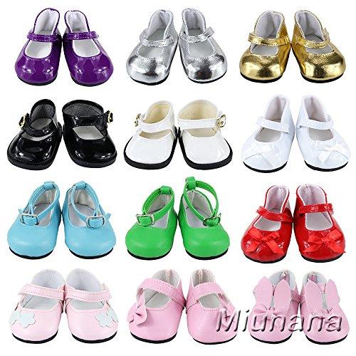 Miunana 5 Pares Zapatos Lona Casuales Lindo Diferentes Tipos Botas Vestir Fiesta Accesorios como Regalo para 18 Inch Americana Girl Doll Muñeca