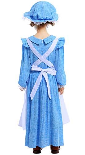 MOMBEBE COSLAND Disfraz Pionero Colonial Pradera Niña Vestido con Sombrero Manga Larga (Azul 2, XL)