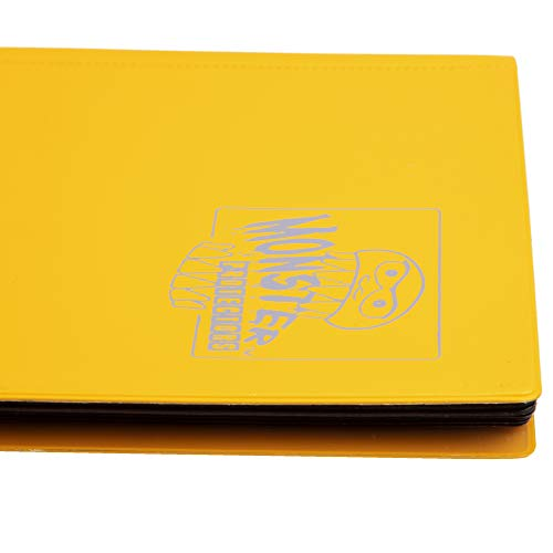 Monster Binder - 4 Pocket Trading Card Album - Matte Yellow (Anti-theft Pockets Hold 160+ Yugioh, Pokemon, Magic the Gathering Cards)