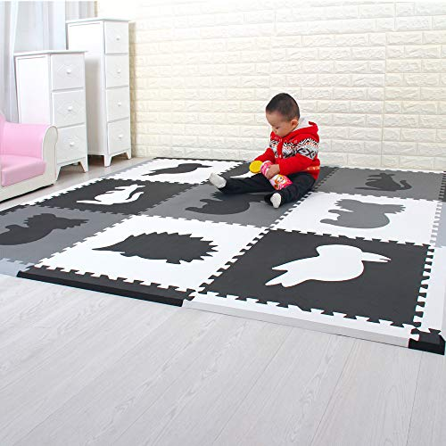 MQIAOHAM Puzzle spielmatte Foam Matte. spielmatte Espuma bloqueo Puzzle alfombra infantil. Cada Matte tiene un tamaño de 60 x 60 cm y es 1.4 cm de grosor negro blanco gris 060HBH2