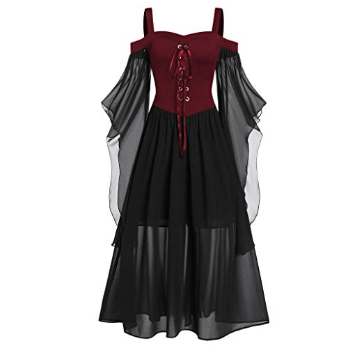 Mujer Vestido de Básico Halloween Faldas con Impresión con Calabaza de Manga Larga Vestidos de Mujer Camisa Casual Top Manga Larga Túnico Fiesta de Noche Vestidos Vintage Vestido Cuello