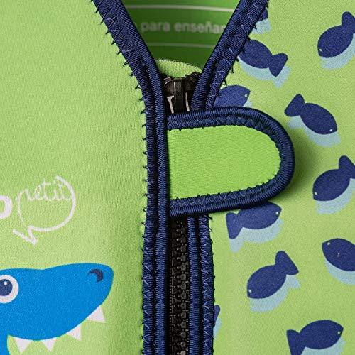 MUNDO PETIT - Chaleco de Ayuda a la flotabilidad Aprendizaje de la natación, Ideal para peques de 9 a 15 kg (Tiburon Verde)