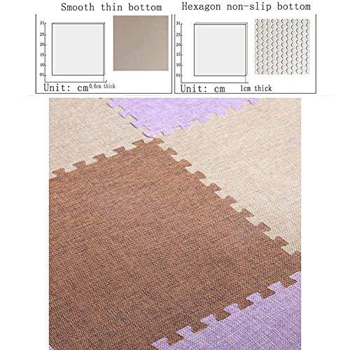 MWPO Espuma Play Mat Lavable a máquina Impermeable Duradero Picnic Dormitorio Niños Entrelazados Pisos Azulejos, 5 Colores, 2 tamaños (Color: púrpura, tamaño: 31x31x0.6cm 36 Piezas)