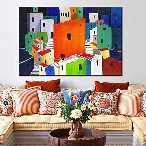 N / A Sin Marco Pinturas al óleo en Canva Beautiful Little Town Wall Pictures for Living Room Decoración del Hotel Morden Sin Marco