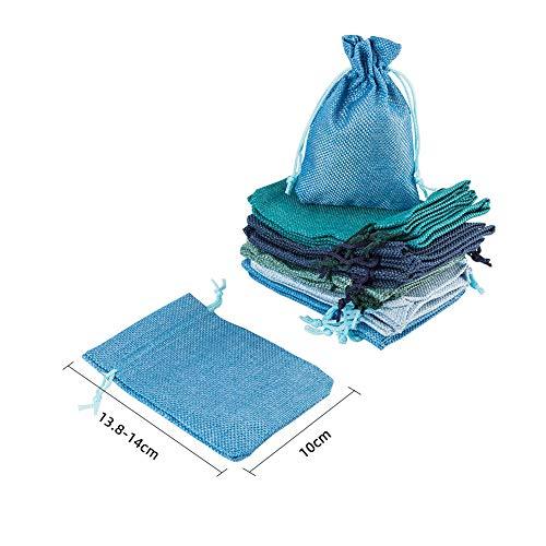 NBEADS Bolso Pequeño con Cordón, Bolsas de Regalo de Tela Azul de 25 Pieza 5 Colores para Fiesta Y Boda, 14x10 cm
