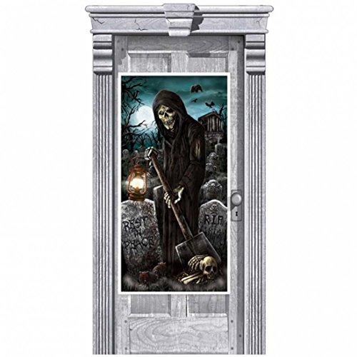 NET TOYS Decoración Puerta enterrador Halloween Mural de la Muerte Deco Noche de Brujas lámina Puerta Tatuaje Pared Fiesta de Terror Imagen para la Puerta enterrador Cementerio guadaña terrorífico