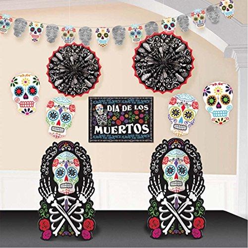NET TOYS Set Decorativo Halloween 10 uds. Decoración Fiesta de los Muertos Mexicana Pack Decorativo Deco habitación Día de los Muertos Ornamentación Ambiental La Catrina Fiesta Noche de Brujas