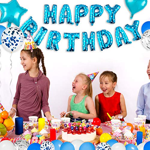 Niceclub Decoración de cumpleaños Happy Birthday Girlande 67 Unidades Happy Birthday Globos Azul para niñas y niños Birthday and Party