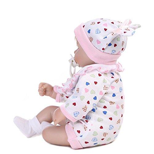 Nicery 18inch Renacido de la Reborn muñeca de Silicona Suave Vinilo 45cm magnética Boca Realista Niño Niña de Juguete Blanco Babero Almohada Ojos Abiertos Reborn Baby Reborn Doll