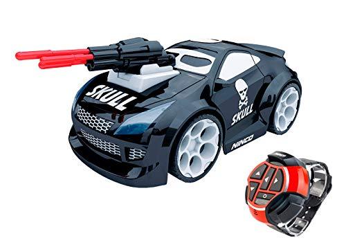 Ninco- NincoRacers Watch Car Skull teledirigido con Reloj. Coche radiocontrol controlado por Voz. 2.4GHz (NH93126). Medi Medidas: 19 cm x 10 cm x 7,5 cm, Multicolor