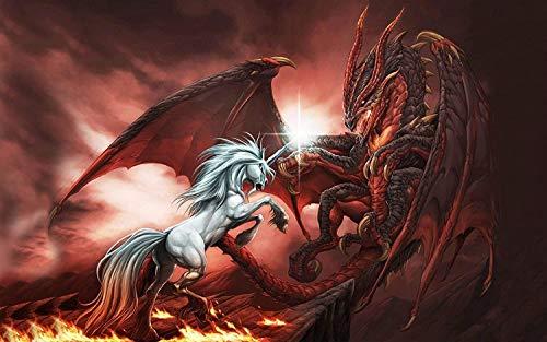 Niños Adultos DIY Experiencia Rompecabezas De Madera 500 Piezas Dragon River Unicorn Battle Desafío Paciencia Rompecabezas Ejercicio Amistad Regalo Casual